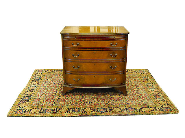 A mahogany and boxwood-strung bowfront chest of drawers, 20th Century