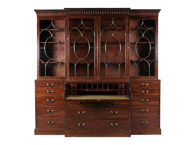 A fine George III mahogany secretaire breakfront bookcase circa 1770