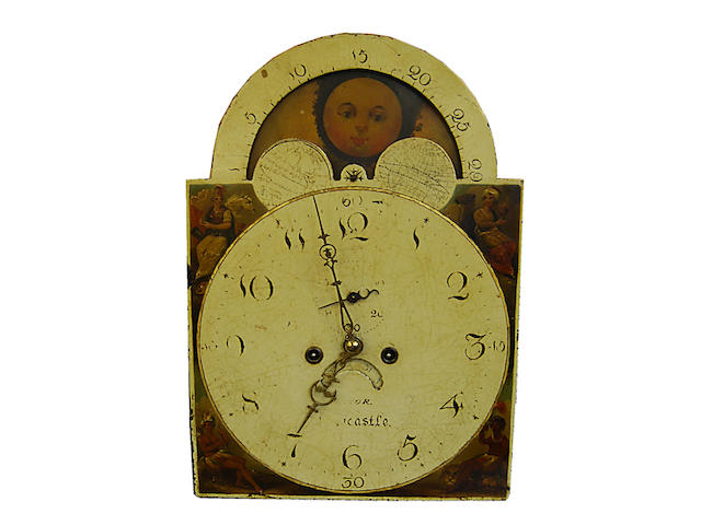 An oak, mahogany-crossbanded and inlaid painted dial eight-day longcase clock, early 19th Century