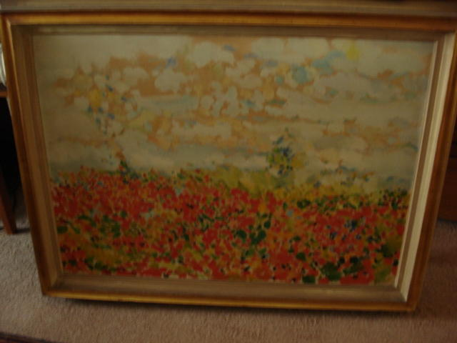 Philip Sutton (B. 1928)  British Poppy fields oil on canvas with inscription verso prov Roland Gallery