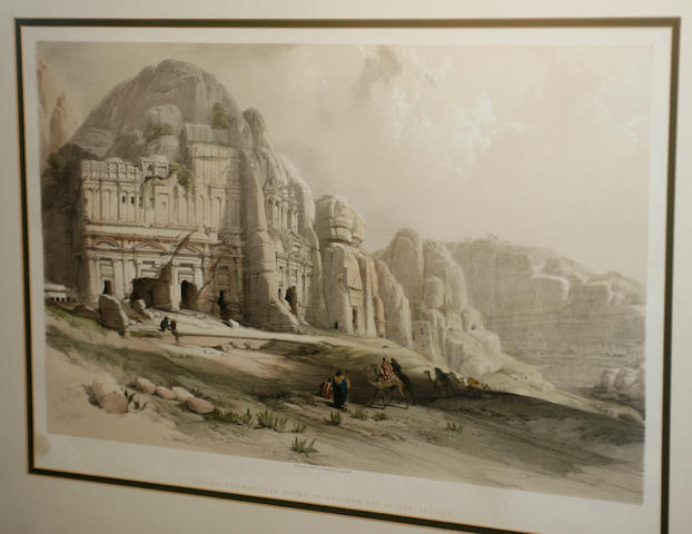David Roberts, RA (British, 1796-1864) Prints entitled 'Encampment of the Aulad-Said and Petr', 'Shewing the Upper or Eastern End of the Valley', Published by F G Moon, 20 Threadneedle Street, 35cm x 50cm  (framed and glazed. (2))