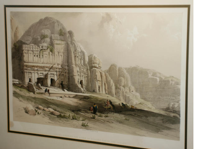 David Roberts, RA (British, 1796-1864), David Roberts prints Encampment of the Aulad-Said and Petr, Shewing the Upper or Eastern End of the Valley, Published by F G Moon, 20 Threadneedle Street,    35cm x 50cm