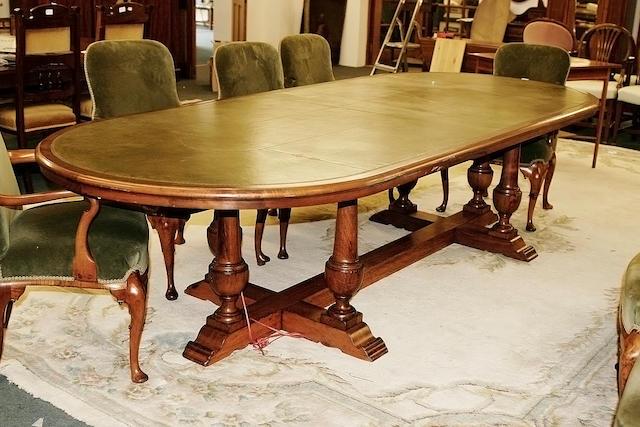 A mid 20th century walnut board room table