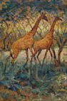 Zakkie (Zacharias) Eloff (South African, 1925-2004) Giraffe amongst the Mopane