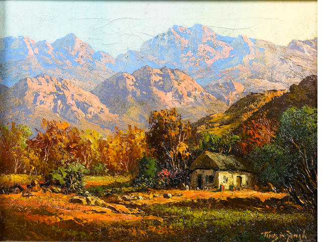 Marthinus (Tinus) Johannes de Jongh (South African, 1885-1942) Cottage in a Cape landscape