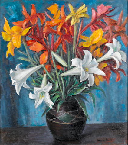 (n/a) Alfred Neville Lewis (South African, 1895-1972) Still life of lilies and other flowers