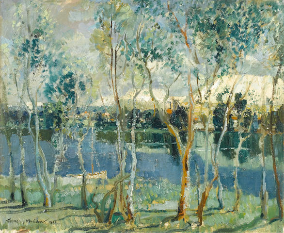 (n/a) Terence John McCaw (South African, 1913-1978) Houses and trees on the water