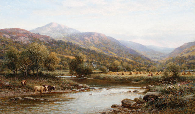 Alfred Augustus Glendening (British, 1840-1921) A harvesting scene near Capel Curig, North Wales
