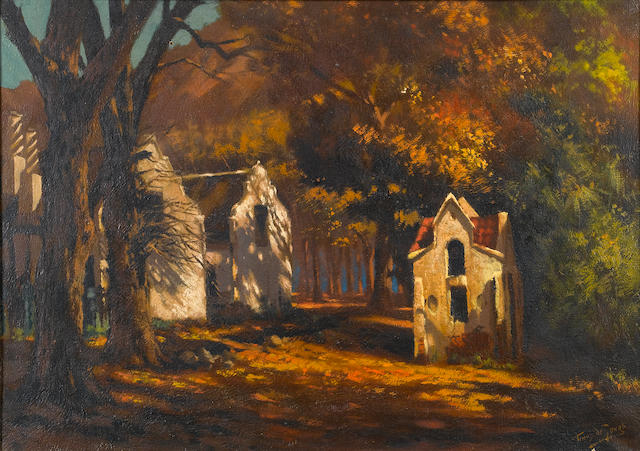 (n/a) Marthinus (Tinus) Johannes de Jongh (South African, 1885-1942) House in the woods