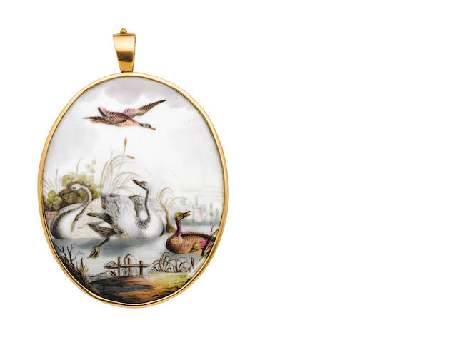 A very fine gold-mounted Birmingham enamel plaque Circa 1760.