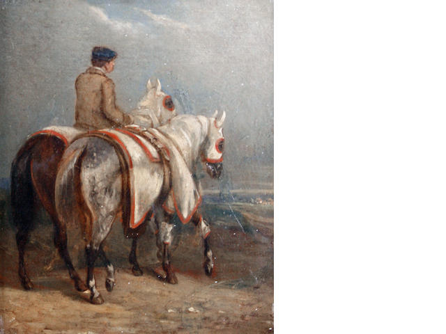 Follower of Alfred de Dreux (French, 1810-1860) A groom leading two horses