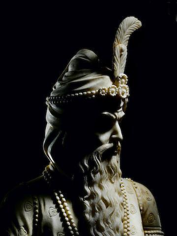 An impressive marble Bust of Maharaja Ranjit Singh