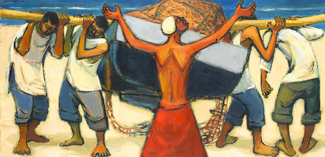 (n/a) Eleanor Esmonde-White (South African, born 1914) Fishermen carrying a boat
