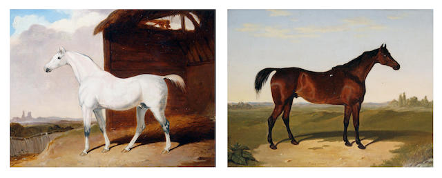After Abraham Cooper A pair of horse portraits: 'Arbutus' and 'Emerald' each 20 x 25cm (7 7/8 x 9 7/