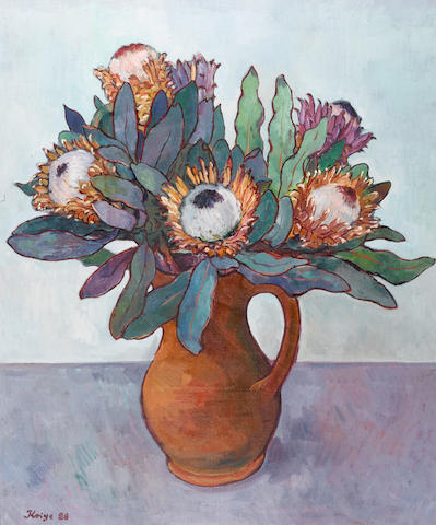 (n/a) Francois Krige (South African, 1913-1994) Vase of king proteas