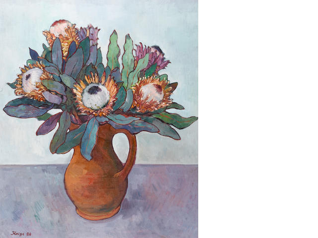 Francois Krige (South African, 1913-1994) Vase of king proteas