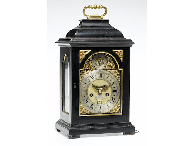 A good second quarter of the 18th century ebony veneered quarter repeating bracket clock of small size Nathaniel Seddon, St. James's, London