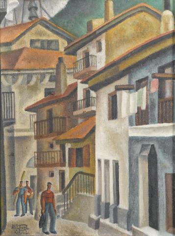 Nicolás Martínez Ortiz de Zárate (Spanish, 1907-1991) Spanish street scene