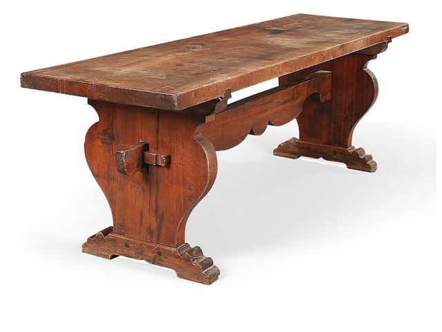 An Italian 16th century style walnut refectory table
