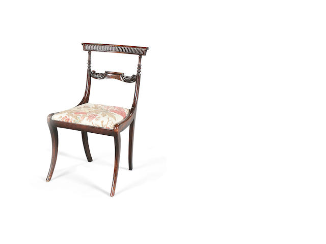 A set of six Regency rosewood grained dining chairs circa 1820