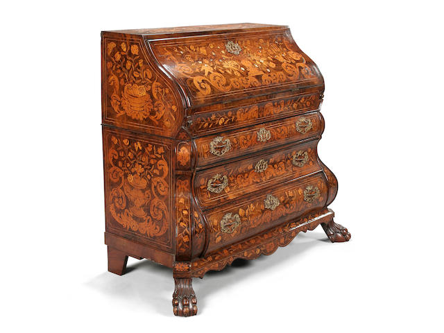 An 18th century Dutch walnut and later marquetry bureau