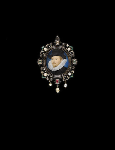 (n/a) Nicholas Hilliard (British, 1547-1619) A Gentleman, wearing black doublet with white ruff and tall black hat