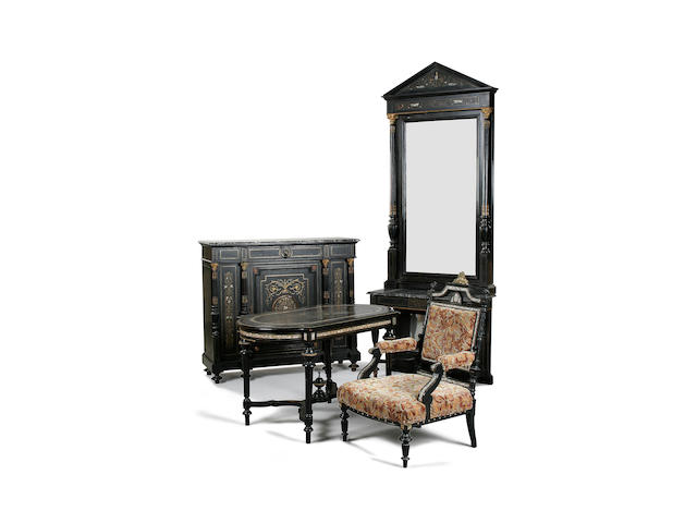 A French 19th century ebonised, gilt metal mounted and mother of pearl inlaid suite of furniture circa 1875