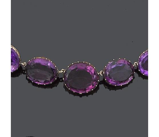 A late 19th century amethyst parure, (6) (partially illustrated)