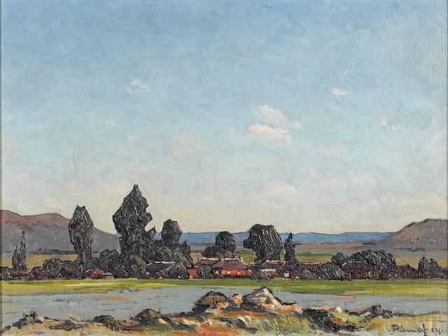 Jacob Hendrik Pierneef (South African, 1886-1957) Settlement in the Free State