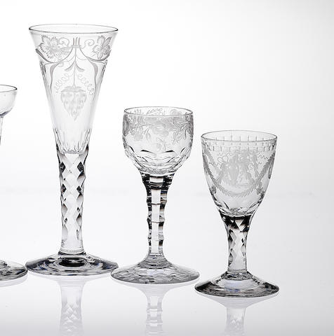 Three facet-stem wine glasses Late 18th century.