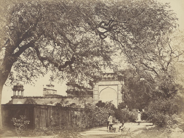 SIKANDRA BEATO (FELICE) Akbar's Tomb at Sikandra, albumen print, mounted, captioned in ink below, image 230 x 300mm., [c.1858]
