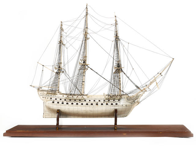 A fine Prisoner of War bone model of a 74 gun ship, 30.5x16x21.5in(78x41x55cm)