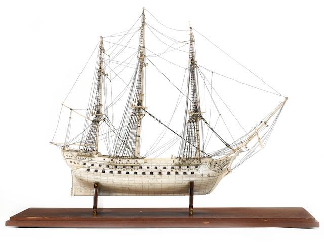 A fine Prisoner of War bone model of a 74 gun ship, 30.5x16x21.5in(78x41x55cm)