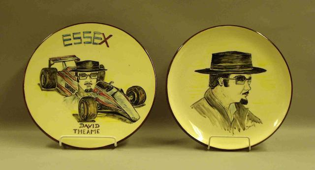 Two ceramic plates specially made for David Thieme's birthday,