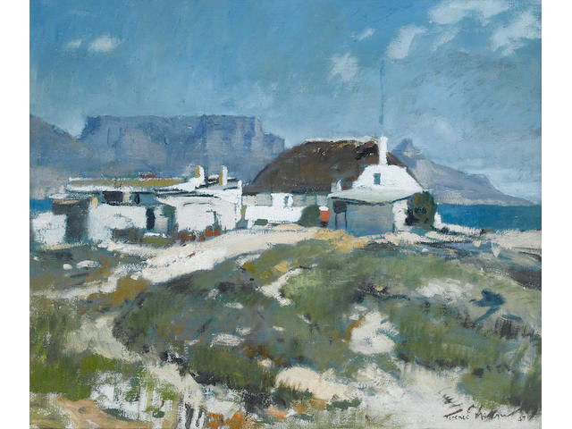 Terence John McCaw (South African, 1913-1978) Cape homestead, Table Mountain beyond