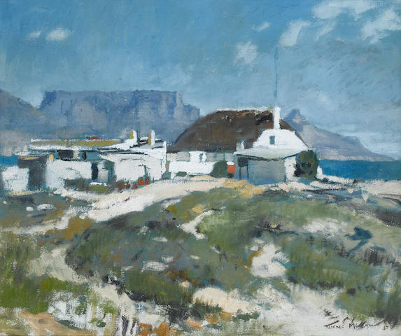 (n/a) Terence John McCaw (South African, 1913-1978) Cape homestead, Table Mountain beyond