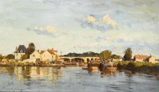 Edward Seago R.B.A., R.W.S. (British, 1910-1974) Village on the upper Seine 31 x 51.5 cm. (12 1/4 x 20 1/4 in.)