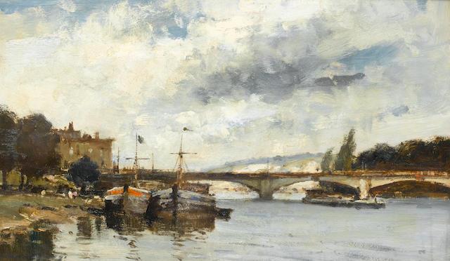 Edward Seago R.B.A., R.W.S. (British, 1910-1974) The bridge at Mantes 31 x 51.5 cm. (12 1/4 x 20 1/4 in.)