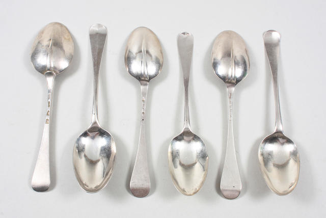 A collection of twelve silver Hanoverian and rat-tail pattern tablespoons Various makers, dates ranging from 1740 to 1770  (12)