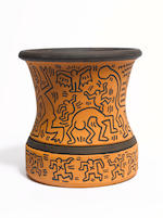 Keith Haring (American, 1958-1990) Untitled, 1984 a unique terracotta vase