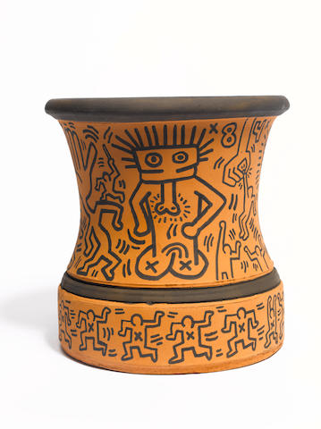 Keith Haring Terracotta Vase