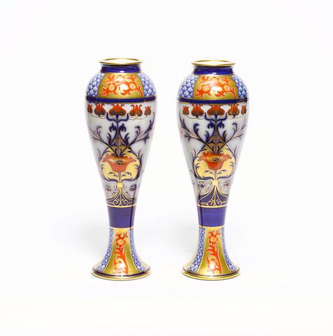 William Moorcroft, attributed for Macintyre  'Aurelian' a pair of tall vases, circa 1900