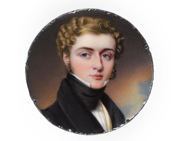 Henry Bone, R.A. (British, 1755-1834) James William Caulfeild, Viscount Caulfeild (1803-1823), wearing black coat, yellow waistcoat, white chemise and black stock