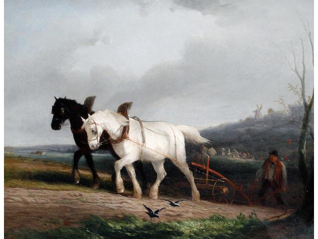 William Joseph Shayer (British, 1811-1891) Ploughing; The ploughman's rest (2)