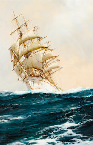 Montague Dawson (British, 1895-1973) The White Ship running free before a fair wind 91.4 x 61cm. (36