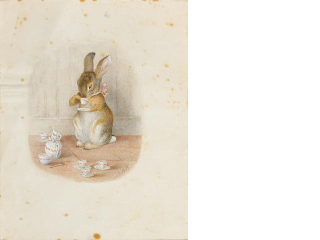 Beatrix Potter (British, 1866-1943) The little bunny drinking tea unframed