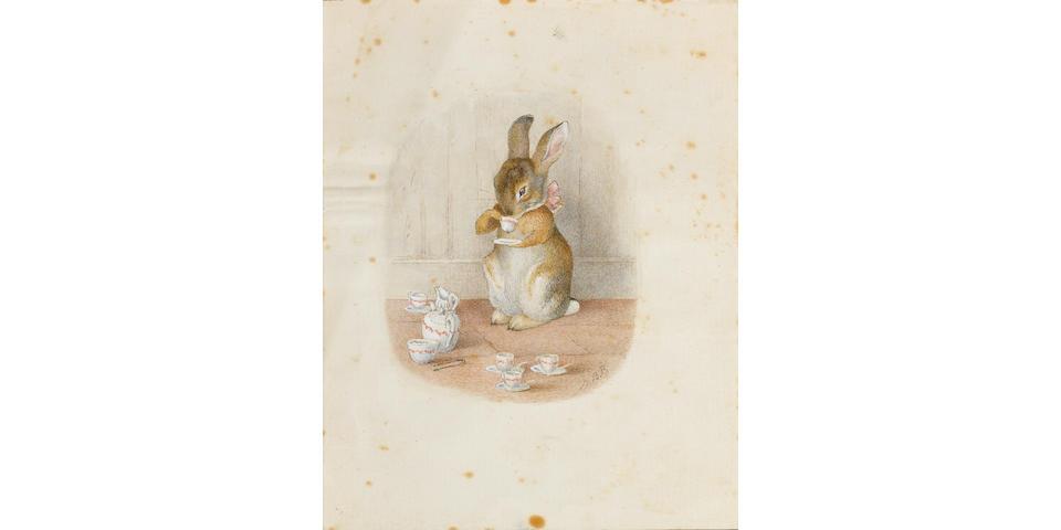 Beatrix Potter (British, 1866-1943) The little bunny drinking tea unframed