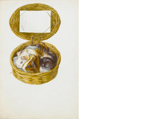 Beatrix Potter (British, 1866-1943) Three guinea pigs in a basket (unframed)