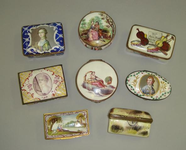 Eight enamel snuff boxes Second half 18th century.