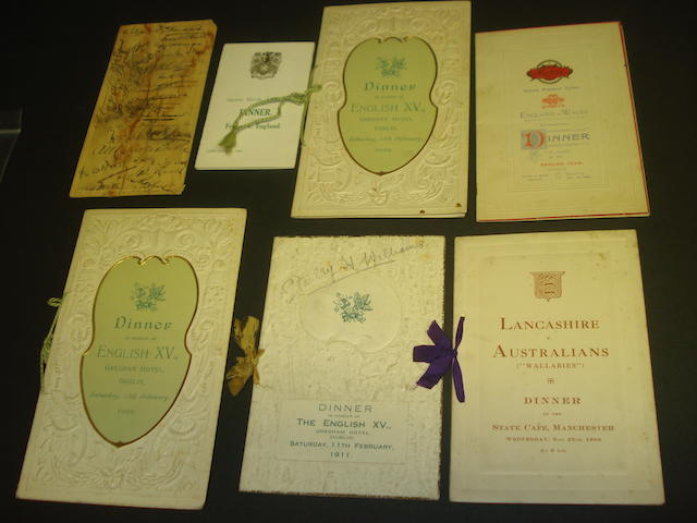 Early 20th Century rugby union dinner menus - 5 hand signed